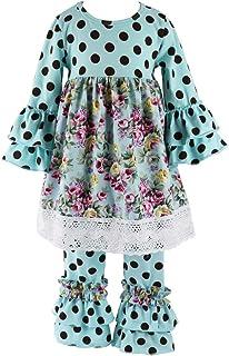 Wennikids Children Baby Girls Polka Dot Lace Trim Dresses & Ruffle Pants Outfits Sets