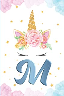 Monogram Initial Notebook Letter M: Cute Unicorn Journal and sketchbook for Kids Initial Notebook M Personalized Writing B...