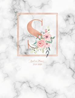 Academic Planner 2019-2020: Rose Gold Monogram Letter S with Pink Flowers over Marble Academic Planner July 2019 - June 2020 for Students, Moms and Teachers (School and College)