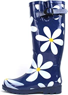 SBC Women's Rain Boots Adjustable Buckle Fashion Mid Calf Wellies Rubber Knee High Snow Multiple Styles (9 B(M) US, Navy/White Flower)