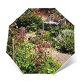 Regenschirm Taschenschirm Kompakter Falt-Regenschirm, Winddichter, Auf-Zu-Automatik, Verstärktes Dach, Ergonomischer Griff, Schirm-Tasche, Englische abgelegene Gartenbank aus Ziegelstein