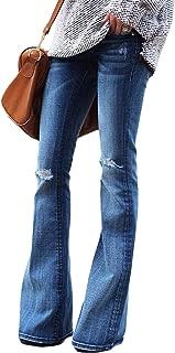 Women's Fashion High Waisted Wide Leg Bootcut Slim Denim Flare Bellbottom Jeans