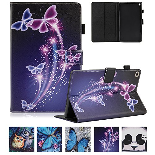 UUcovers Amazon Kindle Fire HD 8 Tablet Case 8' (6th/7th/8th Generation, 2016/2017/2018), Smart PU Leather Folio Stand Magnetic Wallet Cover with Card Pencil Holder [Auto Wake/Sleep], Purple Butterfly