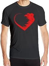 DETED Men's Love Warrior Heart Quick Dry Sport T-shirt Black