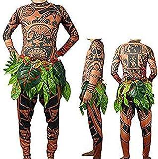 1a7e53c4217b2 BeautyGo Halloween Moana Maui Tatouage T-Shirt   Pantalon Adulte Hommes  Femmes Costume Cosplay avec
