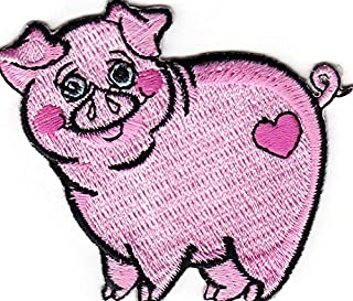 PINK PIG Iron On Patch Piglet Piggy Pigs Farm Animal
