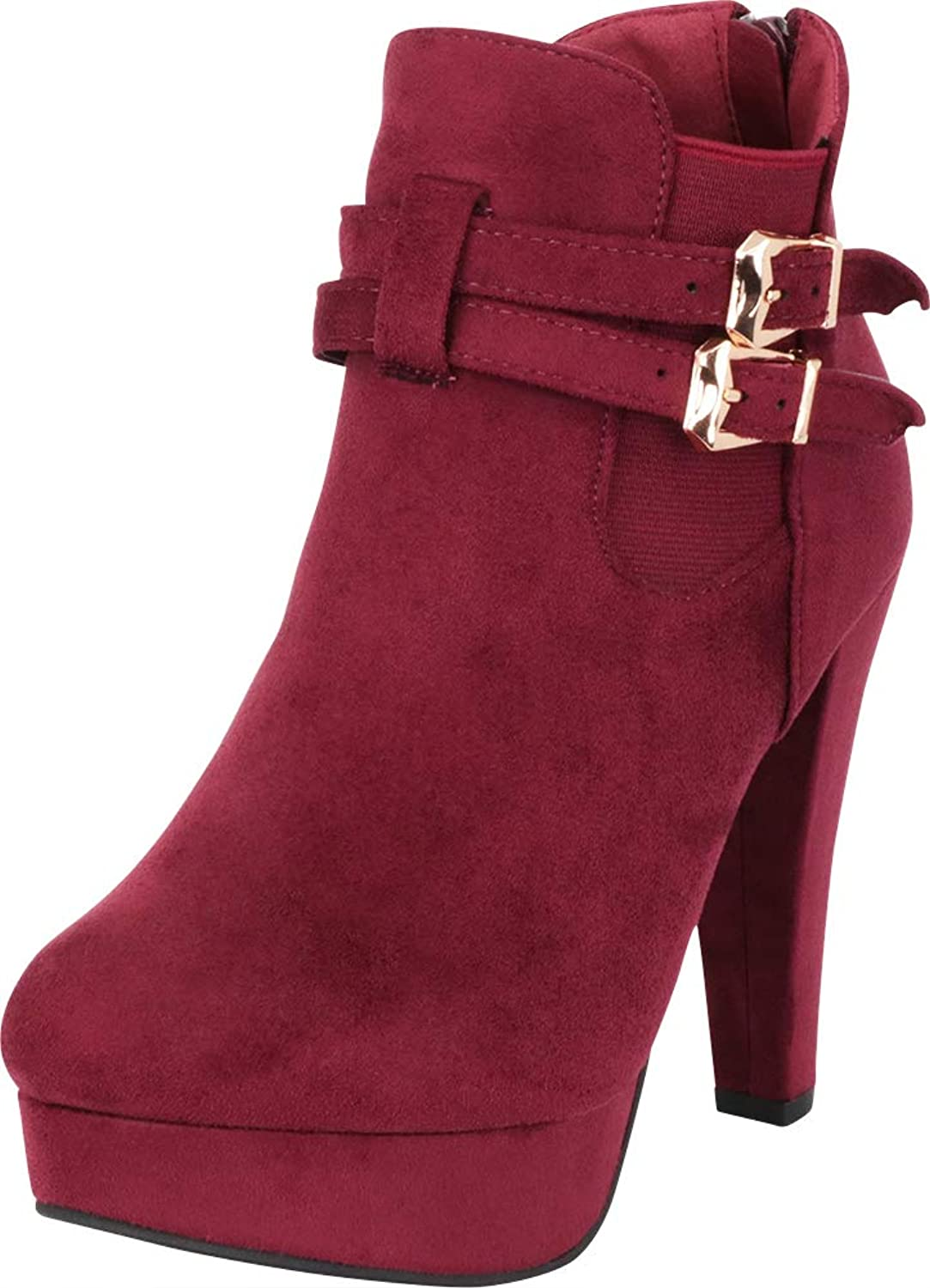 Cambridge Select Women's Strappy Buckle Stretch Chunky Platform High Heel Ankle Bootie