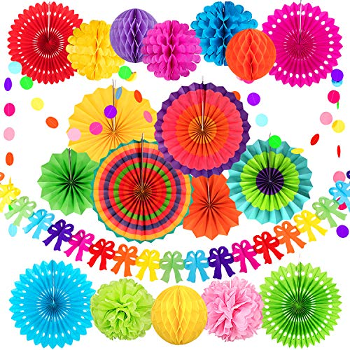 Whaline Colorful Birthday Decorations Hanging Paper Fans Set, Honeycomb Balls Tissue Paper Pom Poms Flower Balls Bow-Ties Bunting Garland Polka Dot String for Birthday Wedding Fiesta Carnival Decor