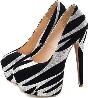 Striped Platform High Heels For Banquet Wedding Dress Daily (Color : Black, Size : 35)