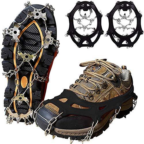 YANGYU Crampones de hielo con 19 puntas de acero inoxidable, para invierno, caminar, senderismo, color negro, M