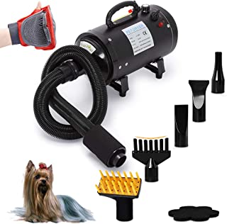 Free Paws Dog Dryer 4.0 HP 2 Speed Adjustable Heat Temperature Pet Dog Grooming Hair Dryer Blower Professional with 5 Different Nozzles and a Shower Massage Glove