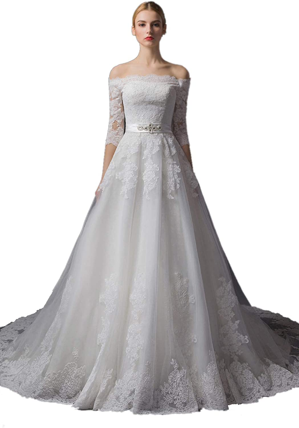 Dearta Women's ALine Court Train Portrait Neckline Lace Up Tulle Wedding Gowns