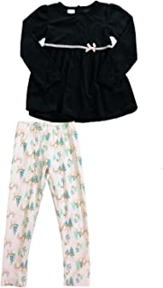 cb006d359cb89 Toughskins Little Girls Black Velvet Dress Shirt Pink Deer & Tree Leggings  Outfit