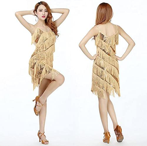 RENMEN Latin Dance Kleid Kostüm Erwachsenen Kleid Pailletten Quaste Tanz Rock Kostüm Sommerkleid, 1