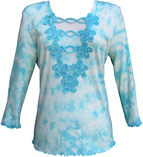 Womens Tie Dye Top 3/4 Sleeve T Shirt Lace Cotton Modest Square Neck