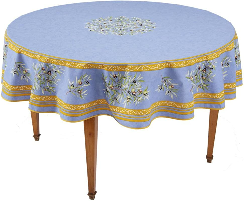 Occitan Imports Clos Des Oliviers Bleu Round French Tablecloth Coated Cotton 71 In Diameter