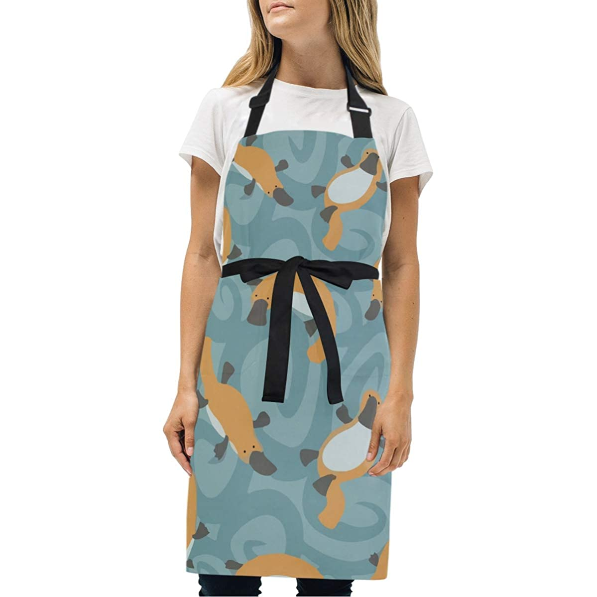 BeliveFinds Swimming Cute Platypus Adjustable Bib Apron with Pockets Cooking Kitchen Party Aprons