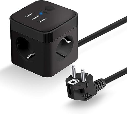 HOVNEE Cube Multiprise à 3 Prises pour Barrette d'alimentation, Power(2500W/10A) avec 3 Ports de Charge USB (5V/4,5A)...