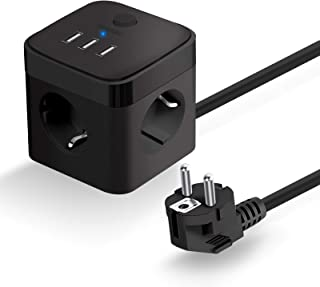 HOVNEE Stekkerdoos Cube USB, Stekkerdoos met USB, Overspanningsbeveiliging 3 Stekkers en 3 USB (15,5W / 3A) Stopcontacten ...