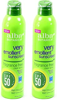 Alba Botanica Spf50 Sunscreen 6 Ounce Clear Spray Fragrance Fre (177ml) (2 Pack)