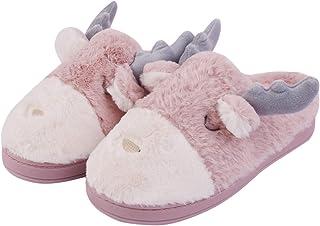 Hawiton Men/Women House Slipper Deer Fuzzy Plush Linning House Shoes Slip On Xmas Slippers