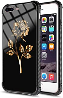 iPhone 7 Plus Case,iPhone 8 Plus Case for Girl Women Design Black Tempered Glass Protective Cover and Shockproof Silicone Frame Bumper Case for Apple iPhone 7 Plus/iPhone 8 Plus 5.5 inch - Gold Rose