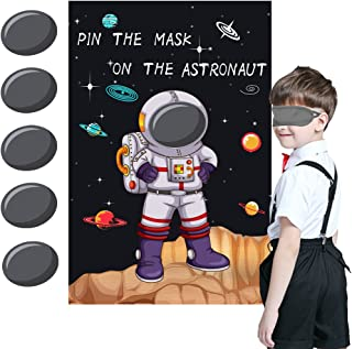Pin the Mask on the Astronaut Game - Kids Solar System/Outer Space Birthday Party Supplies Decorations