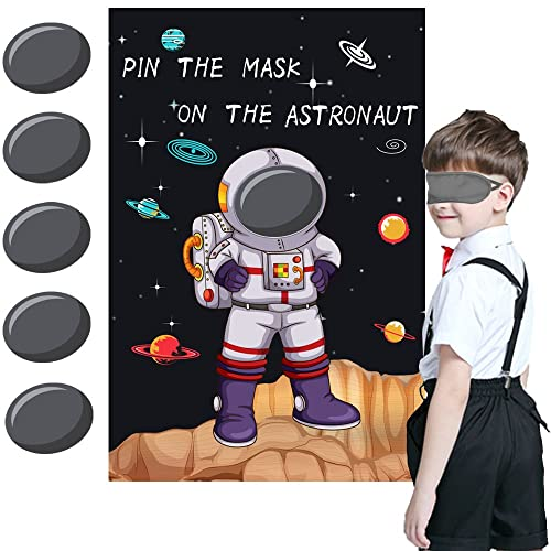 812b2457c881 Pin the Mask on the Astronaut Game - Kids Solar System Outer Space Birthday  Party