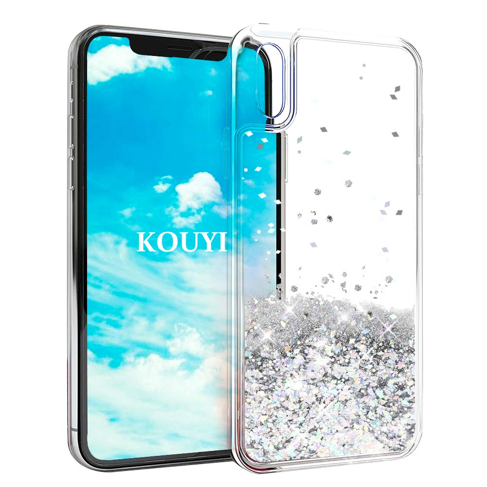 KOUYI Funda iPhone XS MAX, Brillo Brillante Liquida Claro 3D Bling Cubierta Flowing Liquid diseño Creativo Cristal TPU Fundas Case Telefono Movil Smartphone Carcasas para Apple iPhone XS MAX (Plata): Amazon.es: Electrónica