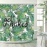 Stacy Fay - Cortina de ducha con 12 ganchos, diseño de hojas verdes, cortina de baño de tela impermeable, diseño de hojas verdes, 182,88 x 182,88 cm