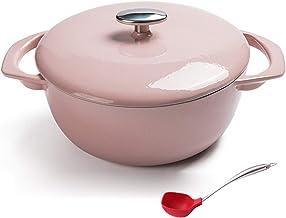 Home Nonstick Enamel Cookware Crock Pot, Enameled Cast Iron Dutch Oven with Lid, Enameled Cast Iron Casserole Baking Pan f...