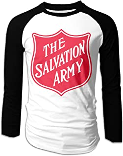 Mens Classic The Salvation Army Print Tee T Shirt Long Sleeve Tshirt for Men T-Shirt Crew Neck Clothes