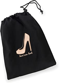"""Miamica Women's Head Over Heels"""" Travel Shoe Bag Packing Organizers, Black/Rose Gold, One Size"""