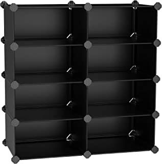 SONGMICS 4-Tier Shoe Rack, Space Saving 16-Pair Plastic Shoe Storage Organizer Units, Cabinet Storage Organizer, Ideal for Entryway Hallway Bathroom Living Room and Corridor, Black ULPC24H