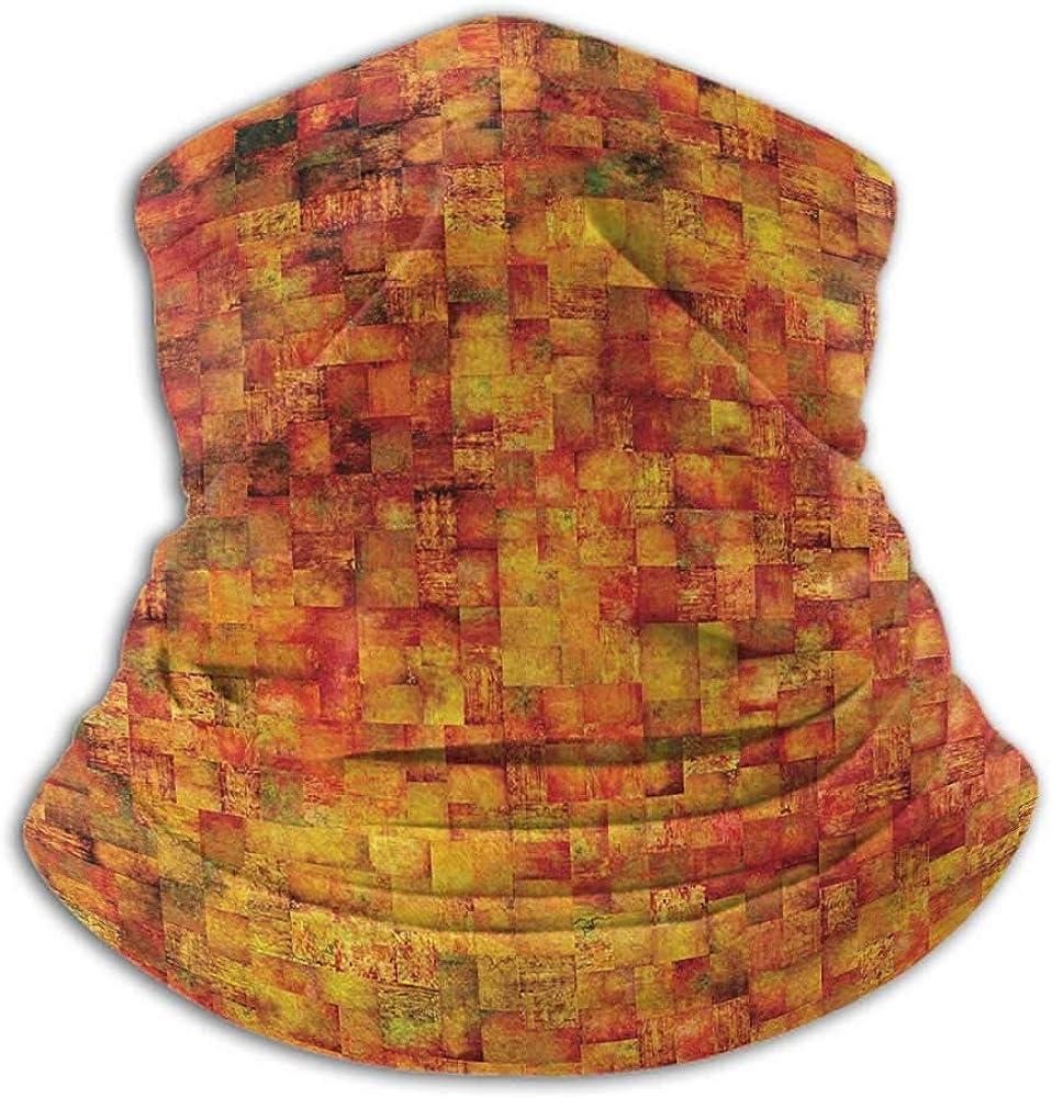 Neck Gaiter Women Burnt Orange Cold Weather Face Cover Vintage Mosaic Background Quadratic Little Geometric Squares Faded Print Orange Mustard