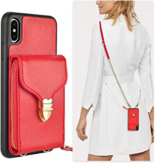 JLFCH iPhone Xs Wallet Case, iPhone Xs Zipper Leather Case with Card Slot Holder Closure Buckle iPhone Xs Crossbody Purse Handbag Wrist Strap Chain Back Cover for Apple iPhone Xs/X 5.8 inch - Red