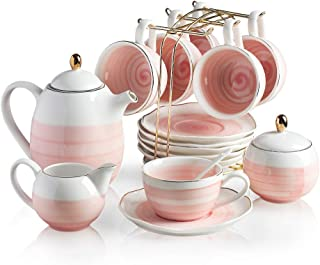 Sweejar Porcelain Tea Sets,8 oz Cups & Saucer Adults Tea Service Set of 6, with Teapot Sugar Bowl Cream Pitcher Infuser and Teaspoon for Tea,Coffee,Birthday,Wedding,Women,Gift, Afternoon Tea Party