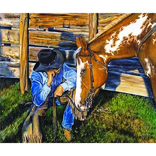 Paint by Numbers for Adults, Diy Painting Paint by Numbers Kits on Canvas,Farm Horse and Cowboy,16X20Inch