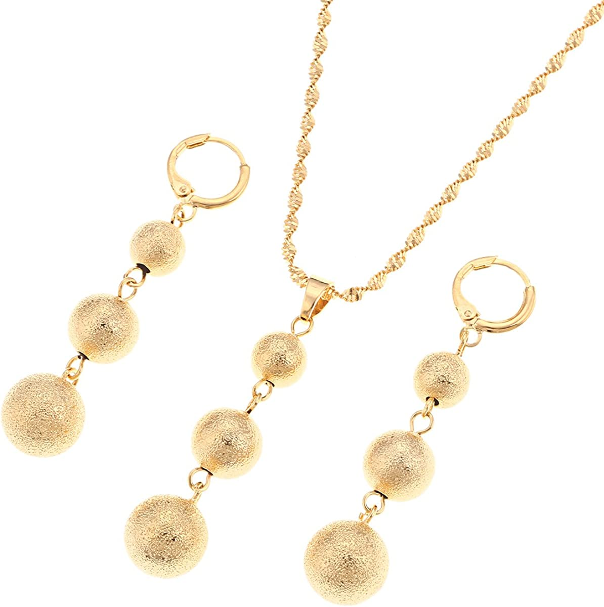 Bead Jewelry Sets Round Pendant Chain Necklace Ball Earrings Ethiopian Jewelry