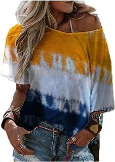 Comaba Women Gradients Casual Short Sleeves Summer Blouse Tees Shirt