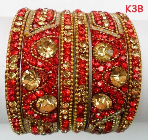 Tyagi Craft Indian Bollywood Bridal Fancy Crystal Asian Jewellery Maroon Bangles Kada Bracelets