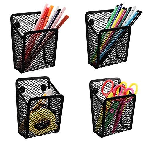 Jucoan 4 Pack Magnetic Pen Pencil Holder, Black Mesh Metal Organizer, Generous Compartment Storage Basket for Whiteboard, Fridge, Cubicle Desks, Locker Accessories