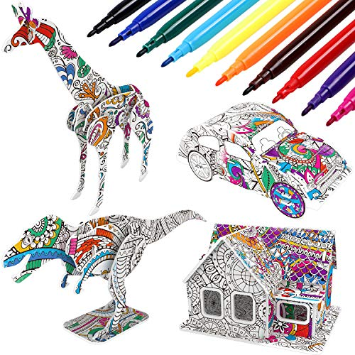 vamei 3D Puzzles Arts And Crafts For Kids Coloring Painting Set with 4 Arts and Crafts Colouring Pens for kids Educational Assembly Toys Jigsaw Puzzle Creative DIY Gifts for kids age5 6 7 8 9 10