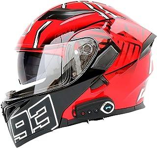 TKer Bluetooth Integrado Casco de Moto Modular de Cara Completa abatible con Doble Visera para Hombres y Mujeres Adultos, Certificación ECE