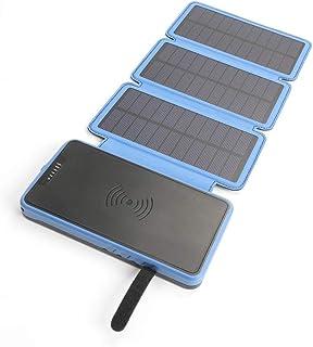 WangLx Ele Cargador Móvil Portátil Batería Externa 20000mAh Cargador Inalámbrico Energia Solar Power Bank con Luces LED y Doble 2.1A USB Compatible iPhone XR/XS/X/8/8 Plus y Todos Móviles con QI