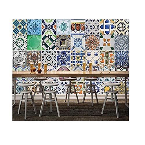 Mssdebz 3D behang Retro, Marokkaanse patroon muurfoto's voor woonkamer Restaurant Bar achtergrond muur decoratieve 450 cm.