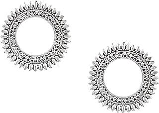 Oxidised Antique Silver Stylish Oxidised Afghani Stud Hoop Earrings For Women (SJ_1382)