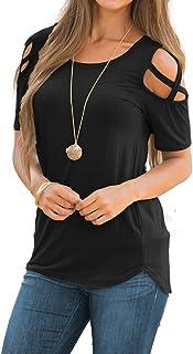 NICIAS Damen Sommer Kurzarm T-Shirt Oberteil Schmales Strappy Cold Shoulder Rundhal Hemd Lässige Tunika Bluse Shirt