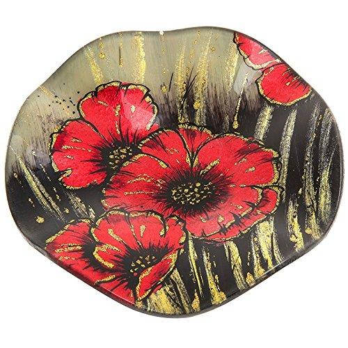 Joe Davies Assiette plate ronde en verre avec coquelicot rouge - 15,5 cm de diamètre