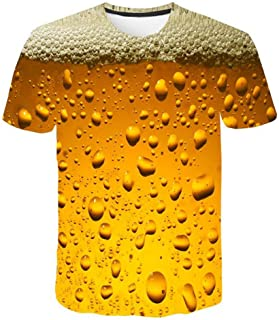 Zackate Mens 3D Beer Style Printed Short Sleeved T-Shirt Top Casual Funny Sweatshirts Shirts Blouses